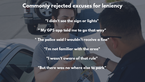 Excuses for leniency of a fine