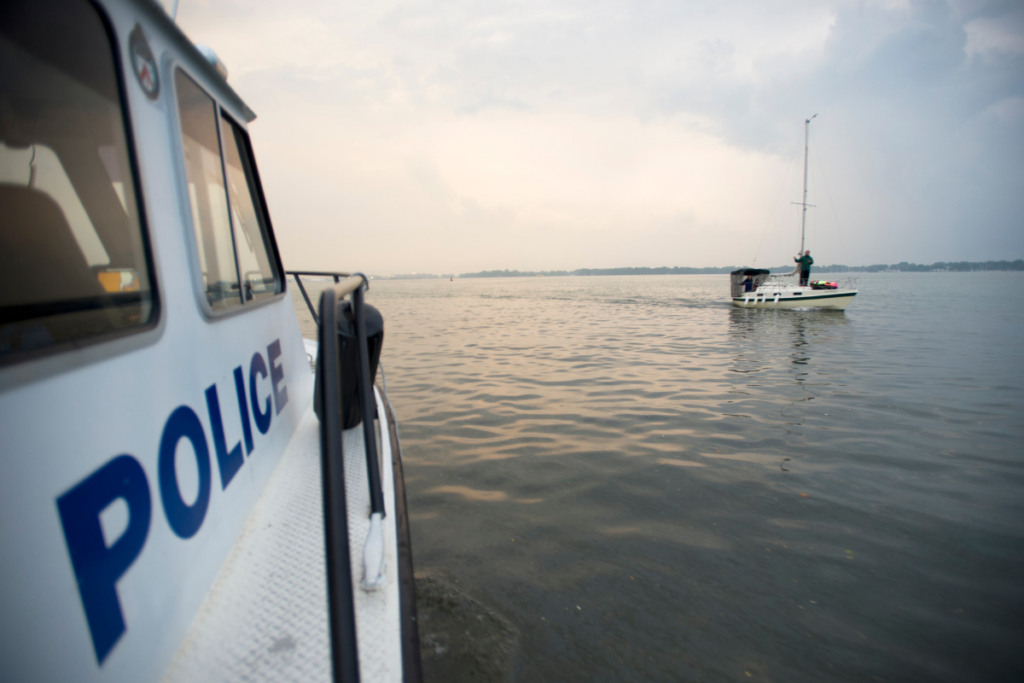Police boat on a harbour